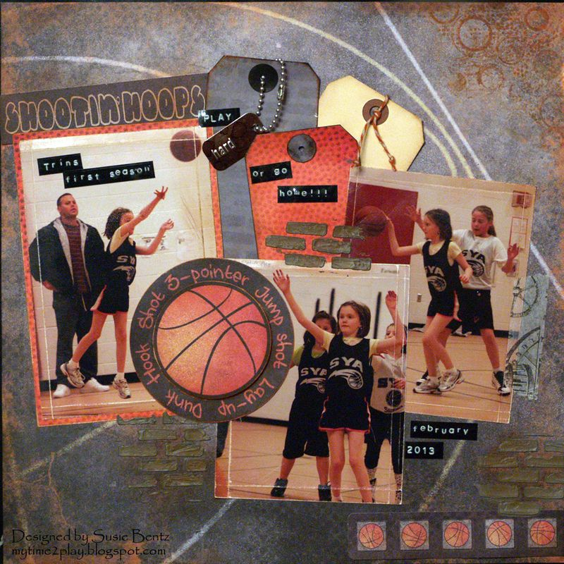 Moxxie Basketball layout Mixed Media Susie Bentz