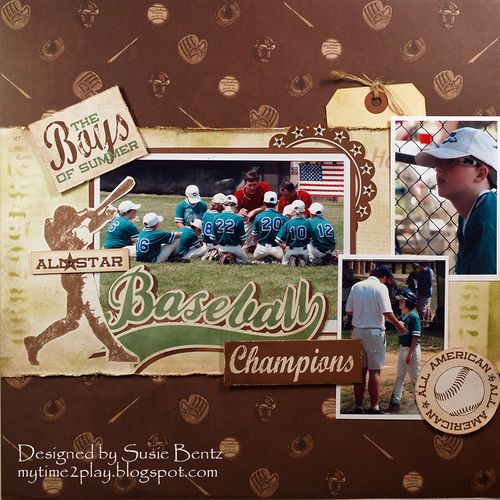 Want2Scrap stencil Bling Susie Bentz Moxxie Ballpark Layout w