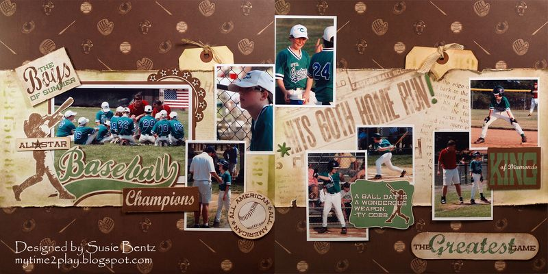 Moxxie Ballpark 2 page layout Susie Bentz Want2Scrap stencil bling t