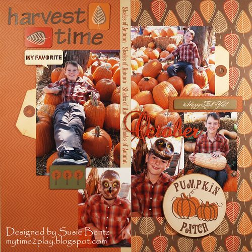 Moxxie Forever Fall harvest Layout Susie Bentz Want2Scrap Chipboard Words T