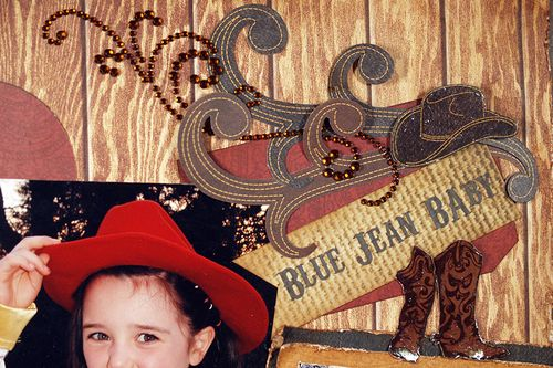 Cowgirl layout detail by Susie Bentz with Moxxie and Want2Scrap
