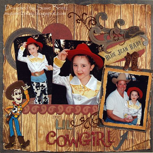 Disney Toy Story Cowgirl Layout by Susie Bentz using Moxxie's Western Round Up and Want2Scrap bling