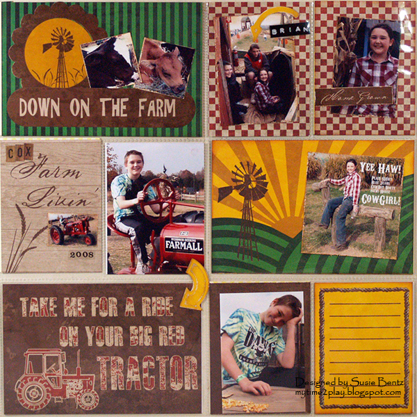 Moxxie Down On The Farm Project Life Tractor layout by Susie Bentz with Spellbinders You Are Here Arrows